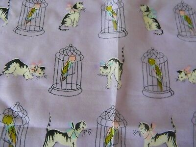 Super Cute VINTAGE Cat & Parrot HAND ROLLED HANKY - CAROL STANLEY Free Ship