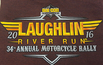 2016 Laughlin River Run 34th Annual Motorcycle Rally Large T Shirt Maroon NEW
