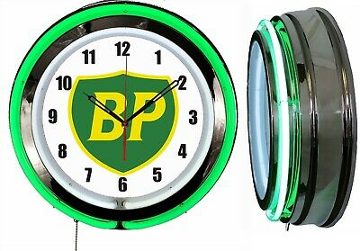 "BP British Petroleum Gas Oil 19"" Double Neon Clock Green Neon Chrome Finish"