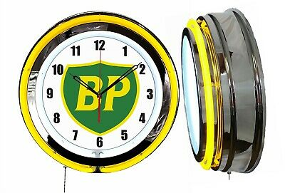 "BP British Petroleum Gas Oil 19"" Double Neon Clock Yellow Neon Chrome Finish"