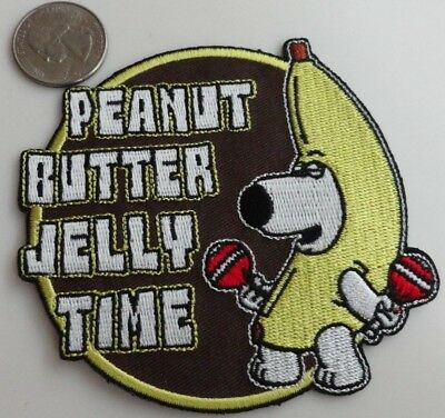 Family Guy Brian Peanut Butter Jelly Time Embroidered Iron On Patch New - Rare