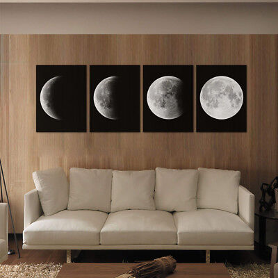 Canvas Art Print Poster Black White Wall Picture Moon La Lune Print Art Poster