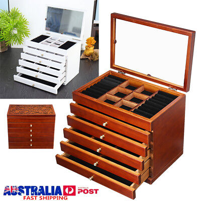 6 Layers LARGE Wooden Jewellery Box Organizer Storage Display Ring Necklace Case