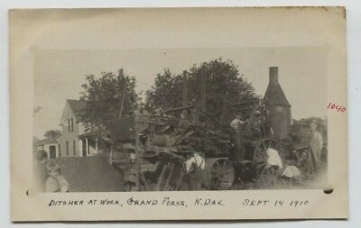 1910 Grand Forks Steam Powered Ditcher Machinery Real Photo Postcard RPPC