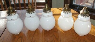 5 Antique White Gas Lighting Fixture shades with collars Open venting holes