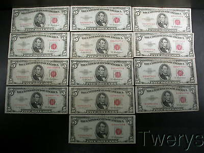 13 Piece Lot 1953A United States Notes $5 Circulated