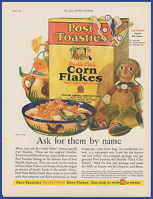 Vintage 1926 POST TOASTIES Corn Flakes Cereal Kitchen Art Decor Print Ad 20's