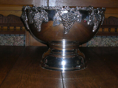 Extra Large Antique Vintage Silver Plated Grape Punch Bowl Ice Bucket