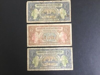 1946 British Armed Forces Notes,  2x one shilling. 1 x six pence. 3 notes in all