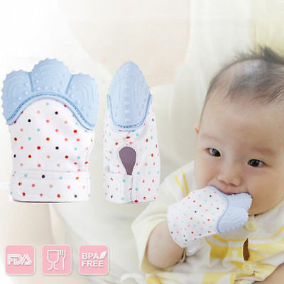 Baby Teether Mitten Soft Teething Bite Chew Gloves Silicone Food Grade kids Toy