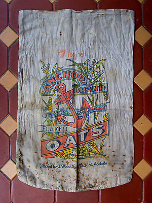 RARE ANCHOR BRAND FLAKED OATS 7lb SACK -  GREAT GRAPHICS EARLY 20th C - RARE