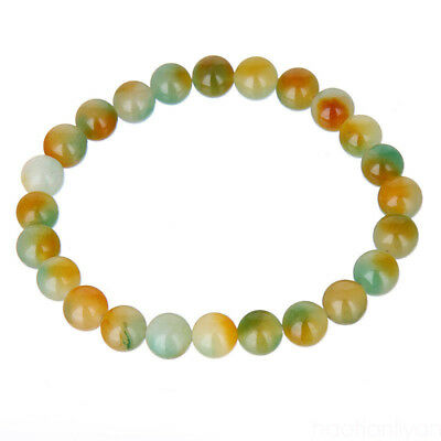 Women Natural Stone Jade Round Beads Stretch Bracelet 8mm  Gift