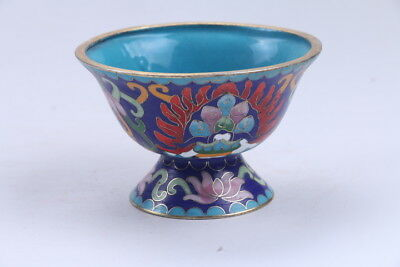 Exquisite Chinese painting flower Cloisonne cup 865