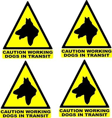 8'' Dogs in transit Warning Triangles x4 car / van graphic decal Yellow / Black
