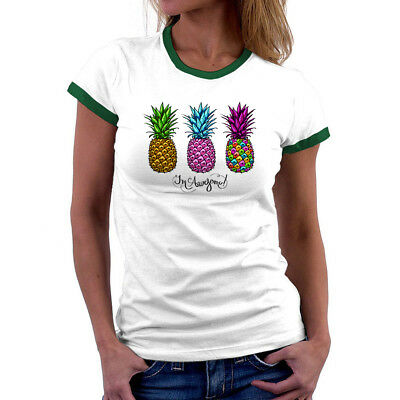 Funny Pineapple Printed Tee White Cotton Women T-shirt Short Sleeve Casual Tops