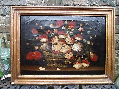 Antique Folk Art Painting Oil On Canvas   Flowers In Woven Basket