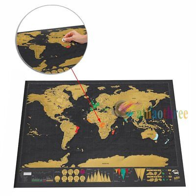 Scratch Off Map World Deluxe Large Personalized Travel Poster Travel Atlas【AU】