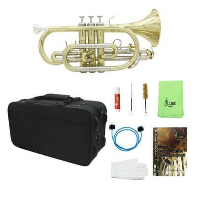 LADE Bb Flat Cornet Brass Instrument Case Gloves Cleaning Cloth Grease Brush