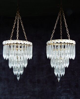 Pair of Antique French Brass & Cut Crystal Lustre Droplet Waterfall Chandelier.