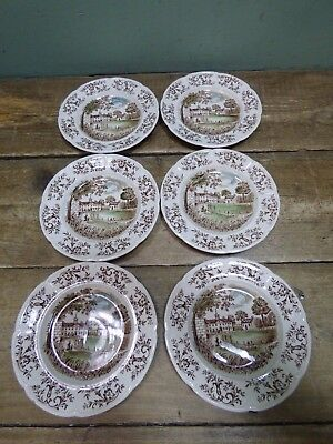 Vintage Set Of 6 Windsor Ware Johnson Bros England Mount Vernon Ceramic Plates