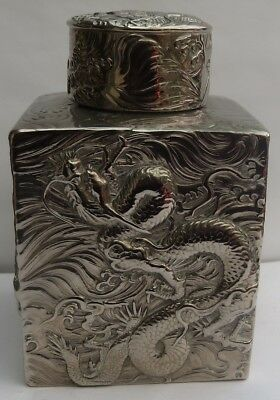 Superb Antique Chinese Silver Plated Dragon Tea Caddy