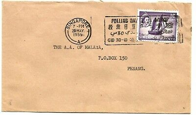 Singapore 1959 Polling Day slogan on cover