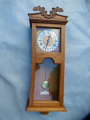 A Very Nice Hand Carved Oak Cased Battery Operated Wall Clock Signed Dn