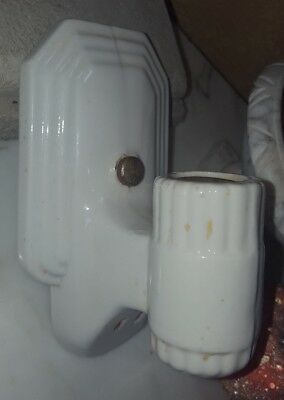 Vintage Art Deco White PORCELAIN Bathroom Wall Light Fixture Sconce with Outlet