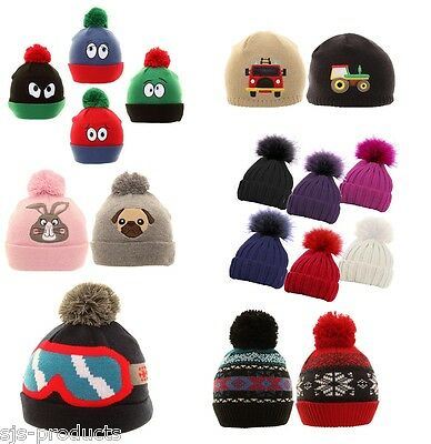 Boys Girls Kids Childrens Winter Hats Beanie Bobble Novelty Ski Warm Pom Pom New