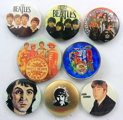 THE BEATLES BADGES 8 x Vintage The Beatles Pin Badges