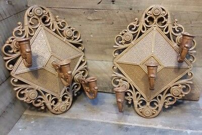 2 VTG 1978 Homco 3 Candle Holder Wall Sconces Changeable 4213 Wicker Look Syroco