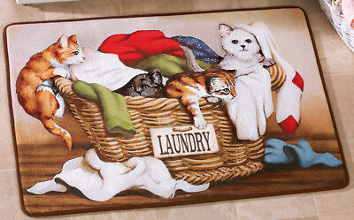 "Laundry Room Cats 30"" x 20"" Cushioned Runner Mat Decor Rug Washer Cushion"