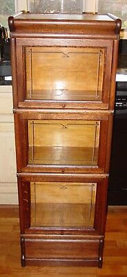 Antique MACEY half size quartered quarter sawn oak barrister bookcase----15426