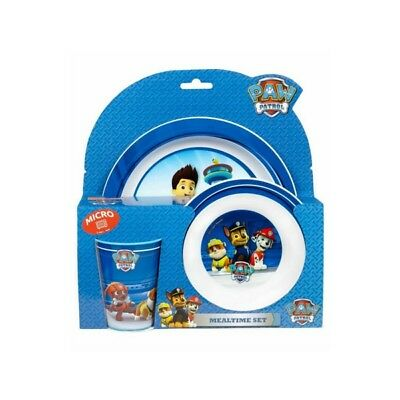 Nickelodeon Paw Patrol Mealtime Dinner Set With Bowl Cup And Plate Microwaveable