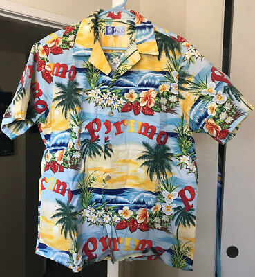Authentic RJC Hawaii Hawaiian Primo yellow waves button up gift Large shirt