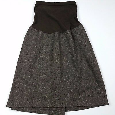 Motherhood Maternity Skirt Sz Large Straight Brown A-Line Above Knee Career UU31