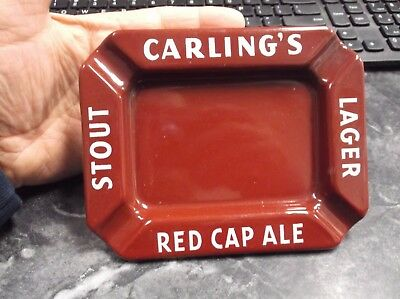 Old Carling's Stout Lager Red Cap Ale Enamel Porcelain Metal Advertising Ashtray