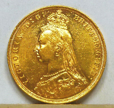 Australia Gold Sovereign 1893-S Almost Uncirculated