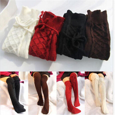 Womens Cable Knit Over knee Long Boot Winter Warm Sexy Thigh-High Socks Leggings