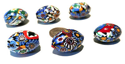 Six Vintage Venetian Millefiori Multi-Murine African Glass Trade Beads