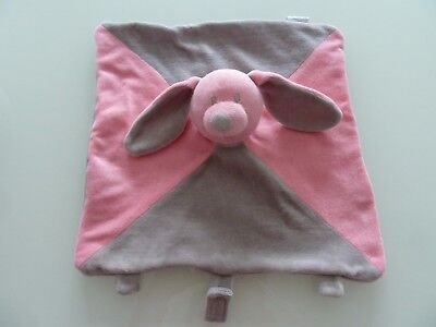 F6- Doudou Plat Caramouille Babou Lapin Gris Rose Attache Tetine - Neuf *