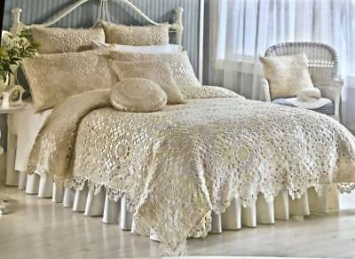 NEW NOBILITY 2pc FULL/QUEEN LACE COVERLET/QUEEN SHAM 'LYDIA' BEIGE 100% COTTON