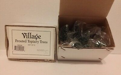"""Dept 56  Village  """" Frosted Topiary Trees """" Set Of 8  New"""