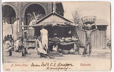 India; A Native Shop, Calcutta PPC UB, c 1910's, to Mr Strang, West Hampstead