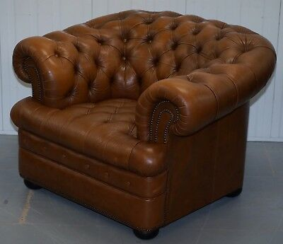 Vintage 40 Year Old Chesterfield Aged Tan Brown Leather Club Armchair