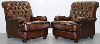 Restored Pair, Chesterfield Hand Dyed Cigar Brown Leather Scroll Back Armchairs