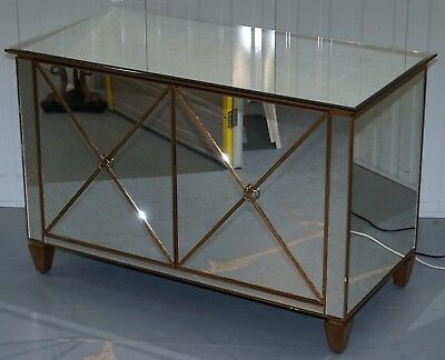 Rare Venetian Mirrored Glass Sideboard With Built In Fridge Mini Bar Must See!