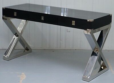 Vintage Milo Baughman Style Black Campaign Desk With Thick Solid Chrome Legs