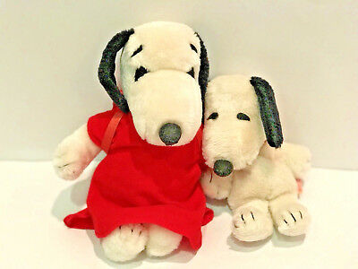 """VTG Peanuts Snoopy Plush With Red Backpack Stuffed Animal Lot Of 2 1968 9"""" & 11"""""""