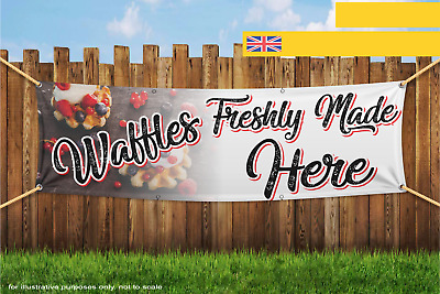 Waffles Freshly Made Served Here Food Heavy Duty PVC Banner Sign 2224